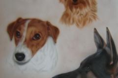 Herder-jack-russel-en-Yorkshire-terrier op papier 50x60 cm