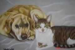Labrador-en-Kat-Wanja-en-Sjeufie op Doek 50x60 cm