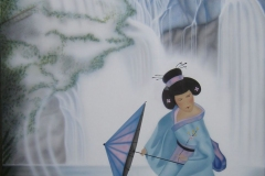 Geisha-japans-tafereel op Hout 80x100 cm