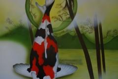 Japanse-koi-showa op Trespa 50x60 cm